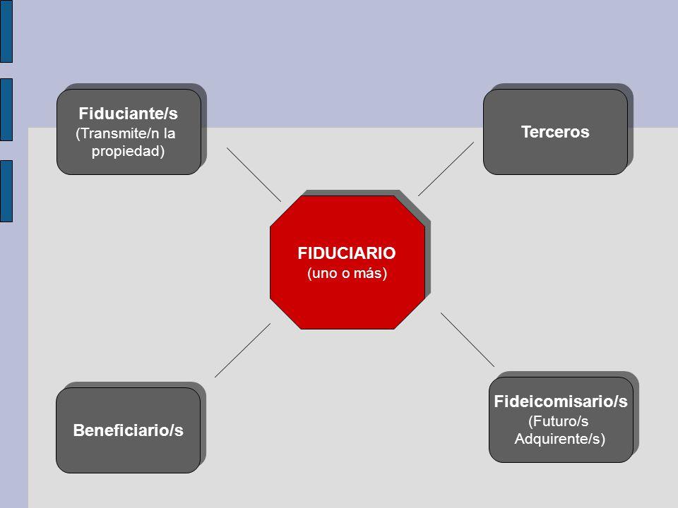 Terceros Fiduciante/s (Transmite/n la propiedad) Fiduciante/s (Transmite/n la propiedad) Beneficiario/s Fideicomisario/s (Futuro/s Adquirente/s) Fidei