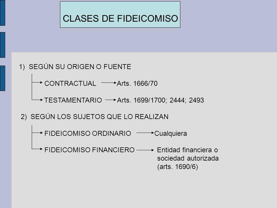 CLASES DE FIDEICOMISO 1)SEGÚN SU ORIGEN O FUENTE CONTRACTUAL Arts. 1666/70 TESTAMENTARIO Arts. 1699/1700; 2444; 2493 2) SEGÚN LOS SUJETOS QUE LO REALI