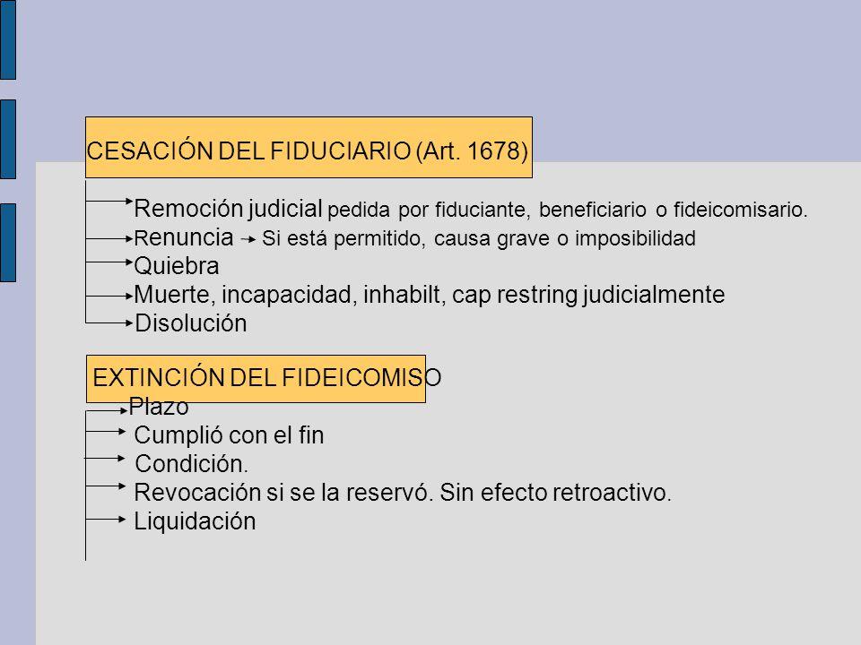 CESACIÓN DEL FIDUCIARIO (Art. 1678) Remoción judicial pedida por fiduciante, beneficiario o fideicomisario. R enuncia Si está permitido, causa grave o