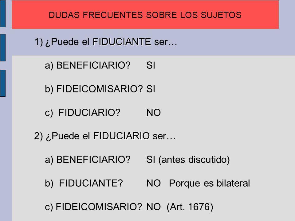 BENEFICIARI ¿Puede el BENEFICIARIO ser… a) FIDUCIANTE?SI b) FIDUCIARIO?SI (antes discutido) c) FIDEICOMISARIO?SI FIDEICOMISARIO ¿Puede el FIDEICOMISARIO ser… a) BENEFICIARIO?SI b) FIDUCIANTE?SI c) FIDUCIARIO?NO (Art.