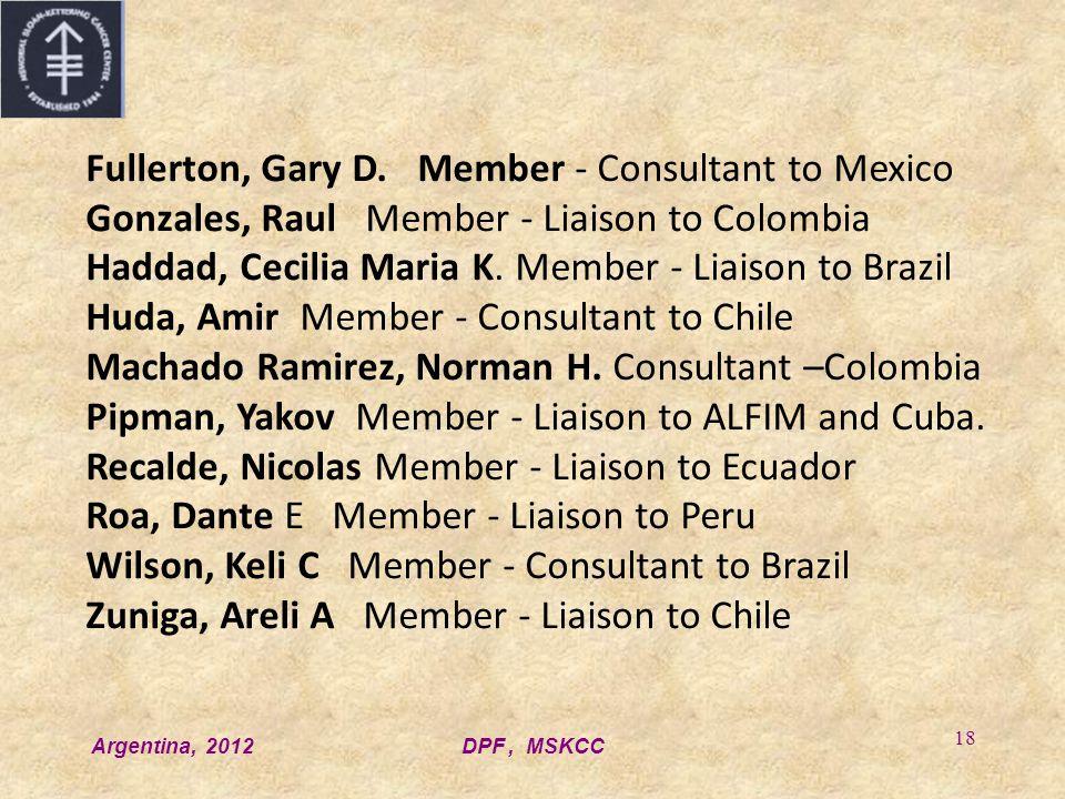 Argentina, 2012DPF, MSKCC 18 Fullerton, Gary D.