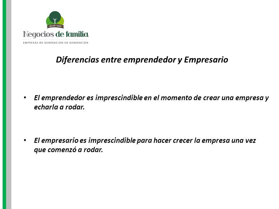 Diferencias entre emprendedor y Empresario El emprendedor es imprescindible en el momento de crear una empresa y echarla a rodar. El empresario es imp