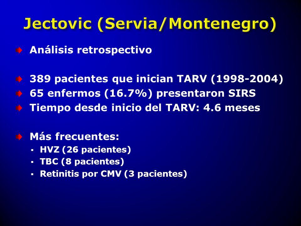 Análisis retrospectivo 389 pacientes que inician TARV (1998-2004) 65 enfermos (16.7%) presentaron SIRS Tiempo desde inicio del TARV: 4.6 meses Más fre