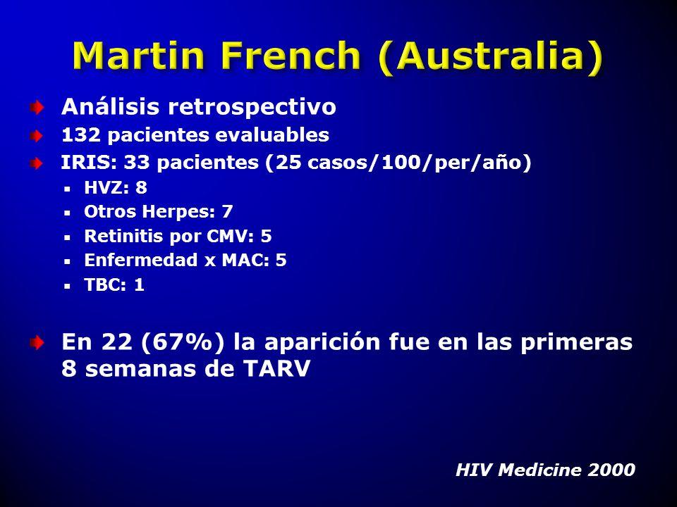 Análisis retrospectivo 132 pacientes evaluables IRIS: 33 pacientes (25 casos/100/per/año) HVZ: 8 Otros Herpes: 7 Retinitis por CMV: 5 Enfermedad x MAC
