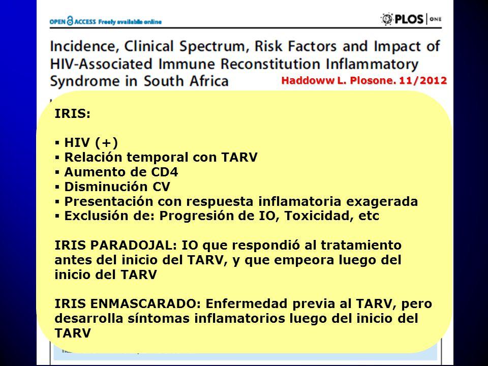 IRIS: HIV (+) Relación temporal con TARV Aumento de CD4 Disminución CV Presentación con respuesta inflamatoria exagerada Exclusión de: Progresión de I
