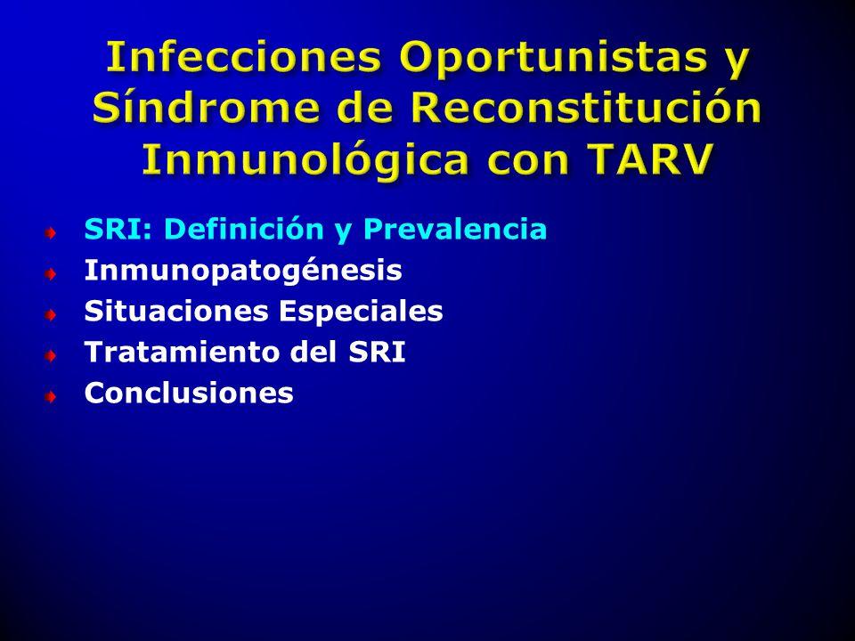 IRIS: HIV (+) Relación temporal con TARV Aumento de CD4 Disminución CV Presentación con respuesta inflamatoria exagerada Exclusión de: Progresión de IO, Toxicidad, etc IRIS PARADOJAL: IO que respondió al tratamiento antes del inicio del TARV, y que empeora luego del inicio del TARV IRIS ENMASCARADO: Enfermedad previa al TARV, pero desarrolla síntomas inflamatorios luego del inicio del TARV Haddoww L.