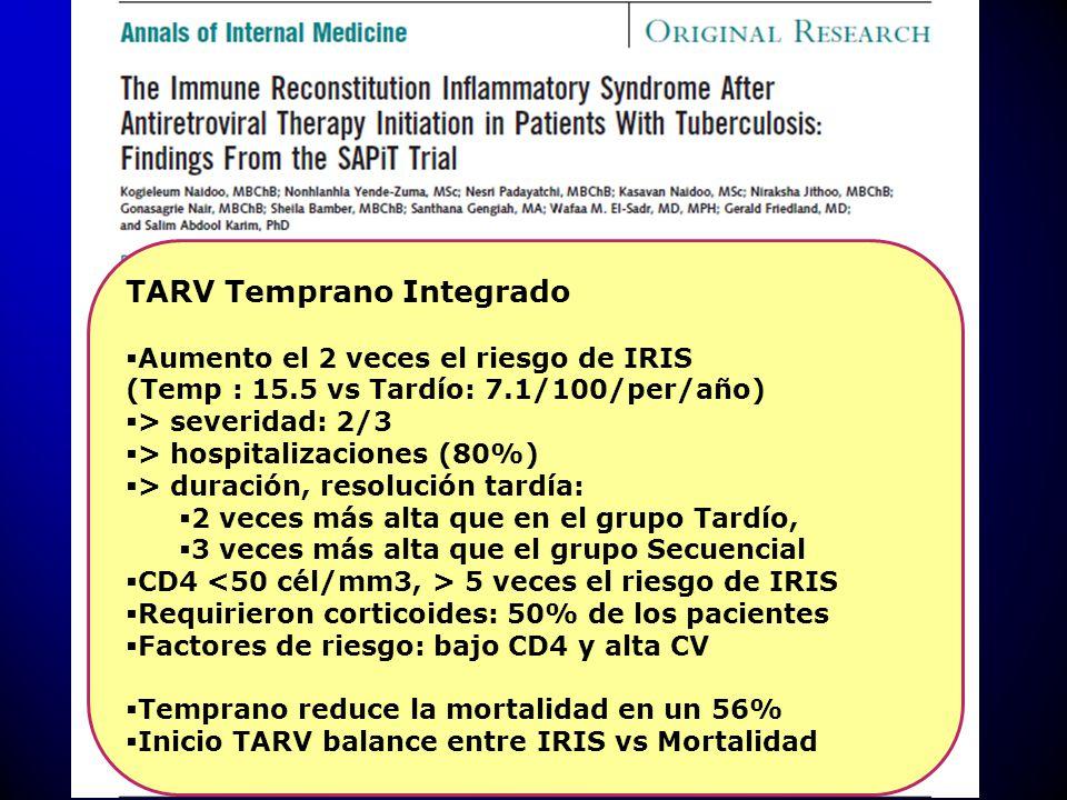TARV Temprano Integrado Aumento el 2 veces el riesgo de IRIS (Temp : 15.5 vs Tardío: 7.1/100/per/año) > severidad: 2/3 > hospitalizaciones (80%) > dur