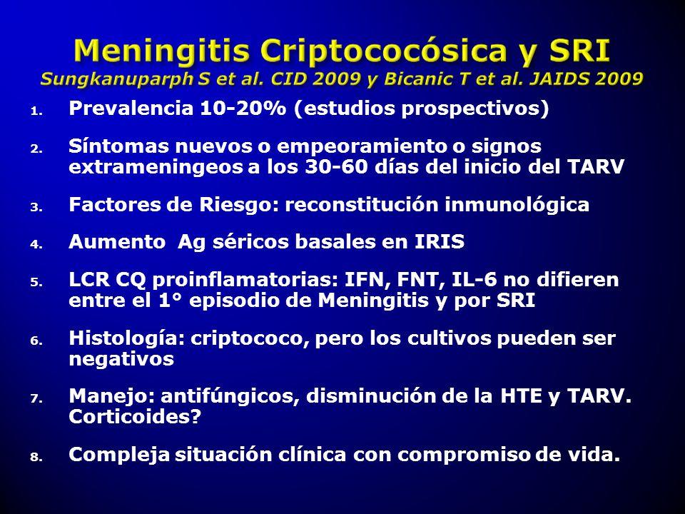 1. Prevalencia 10-20% (estudios prospectivos) 2. Síntomas nuevos o empeoramiento o signos extrameningeos a los 30-60 días del inicio del TARV 3. Facto