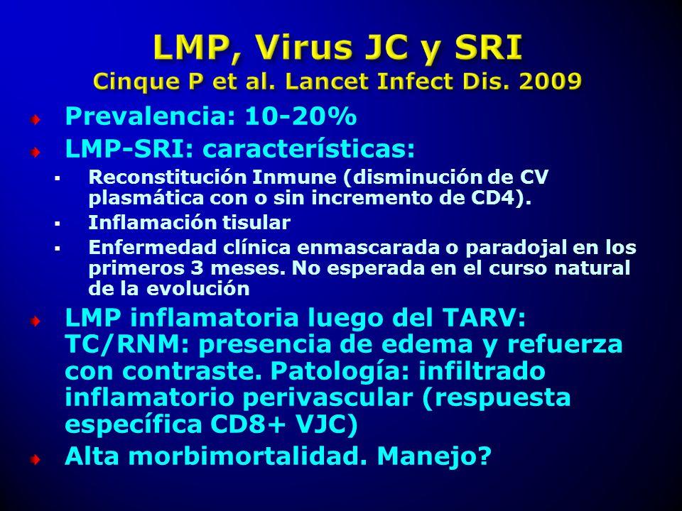 Prevalencia: 10-20% LMP-SRI: características: Reconstitución Inmune (disminución de CV plasmática con o sin incremento de CD4). Inflamación tisular En