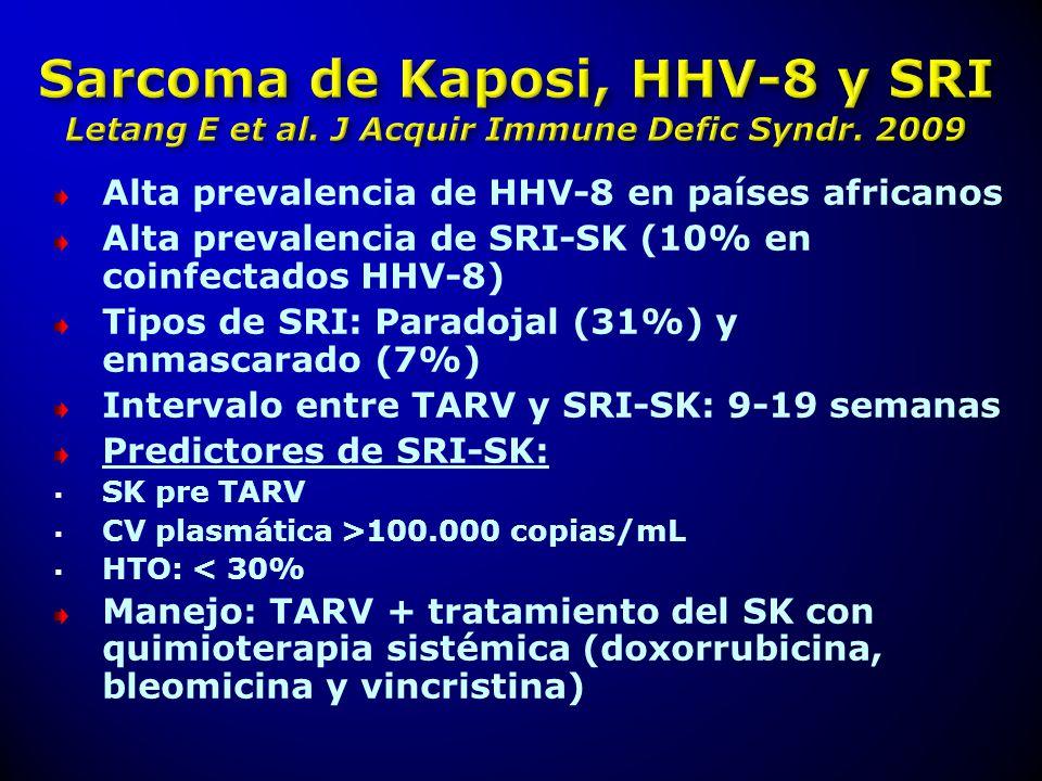 Alta prevalencia de HHV-8 en países africanos Alta prevalencia de SRI-SK (10% en coinfectados HHV-8) Tipos de SRI: Paradojal (31%) y enmascarado (7%)