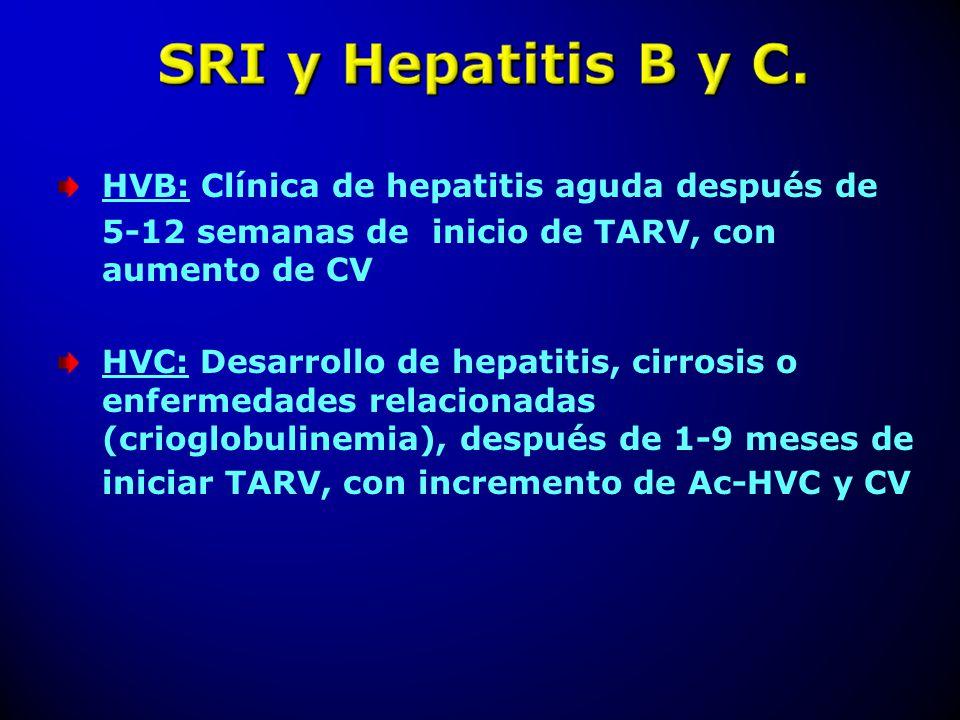 HVB: Clínica de hepatitis aguda después de 5-12 semanas de inicio de TARV, con aumento de CV HVC: Desarrollo de hepatitis, cirrosis o enfermedades rel