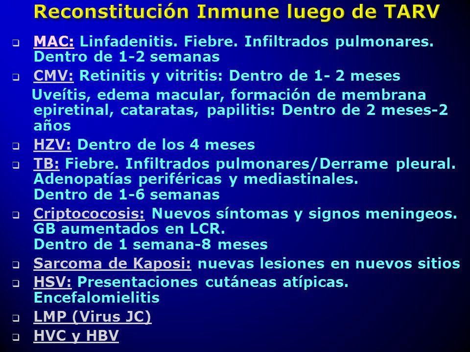 MAC: Linfadenitis. Fiebre. Infiltrados pulmonares. Dentro de 1-2 semanas CMV: Retinitis y vitritis: Dentro de 1- 2 meses Uveítis, edema macular, forma