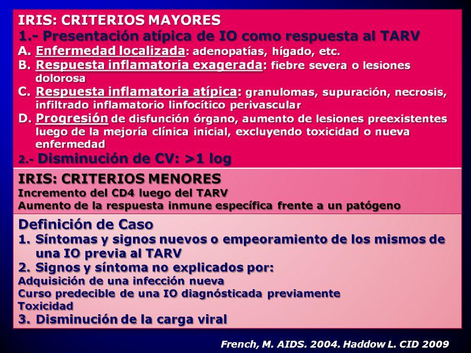 HIV AVANZADO CD4 BAJO CARGA VIRAL ALTA GRAN CANTIDAD DE PATÓGENO O ANTIGENO BACTERIANO INFECCIÓN DISEMINADA FUERTE RESPUESTA AL TARV MARCADO AUMENTO DE CD4 Y DISMINUCIÓN DE LA CARGA VIRAL INTERVALO DE TIEMPO ENTRE EL TTO DE LA IO Y EL INICIO DEL TARV FUE CORTO