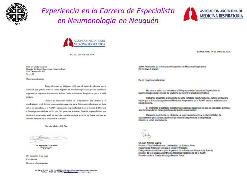 Experiencia en la Carrera de Especialista en Neumonología en Neuquén