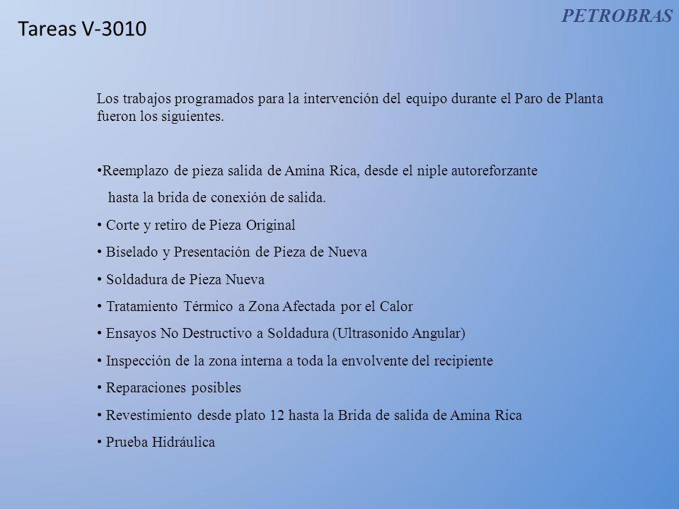 Tareas V-3010 Los trabajos programados para la intervención del equipo durante el Paro de Planta fueron los siguientes.