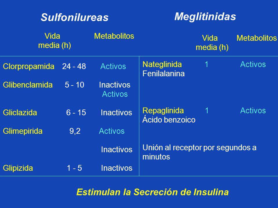 Clorpropamida 24 - 48 Activos Glibenclamida 5 - 10 Inactivos Activos Gliclazida 6 - 15 Inactivos Glimepirida 9,2 Activos Inactivos Glipizida 1 - 5 Ina