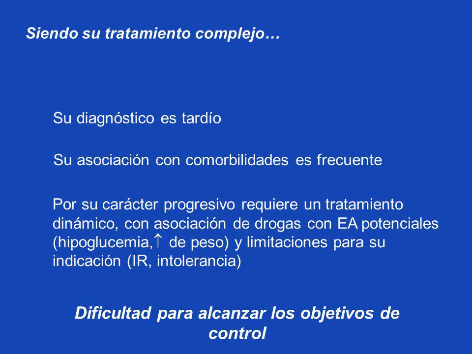 Por su carácter progresivo requiere un tratamiento dinámico, con asociación de drogas con EA potenciales (hipoglucemia, de peso) y limitaciones para s