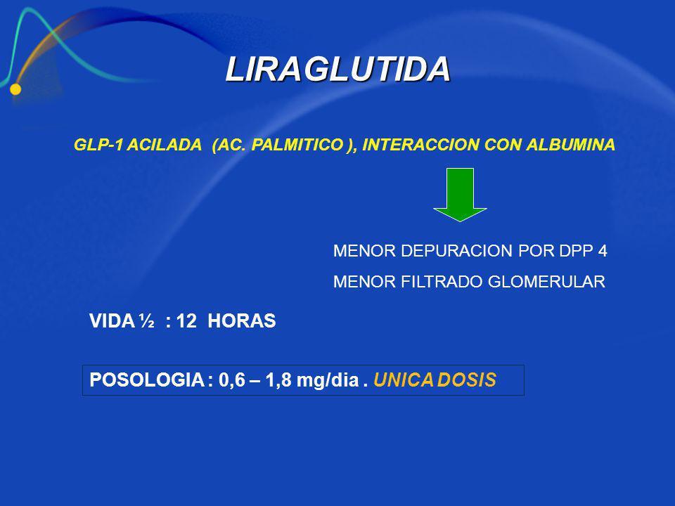 GLP-1 ACILADA (AC. PALMITICO ), INTERACCION CON ALBUMINA MENOR DEPURACION POR DPP 4 MENOR FILTRADO GLOMERULAR VIDA ½ : 12 HORAS POSOLOGIA : 0,6 – 1,8