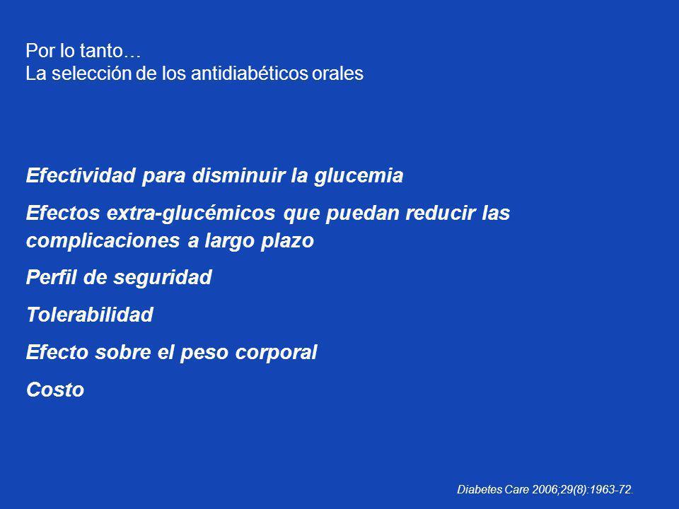 Por lo tanto… La selección de los antidiabéticos orales Efectividad para disminuir la glucemia Efectos extra-glucémicos que puedan reducir las complic