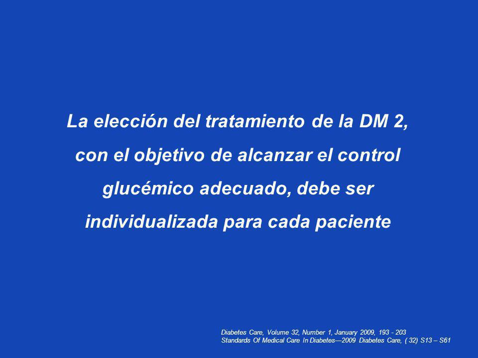 Diabetes Care, Volume 32, Number 1, January 2009, 193 - 203 Standards Of Medical Care In Diabetes2009 Diabetes Care, ( 32) S13 – S61 La elección del t