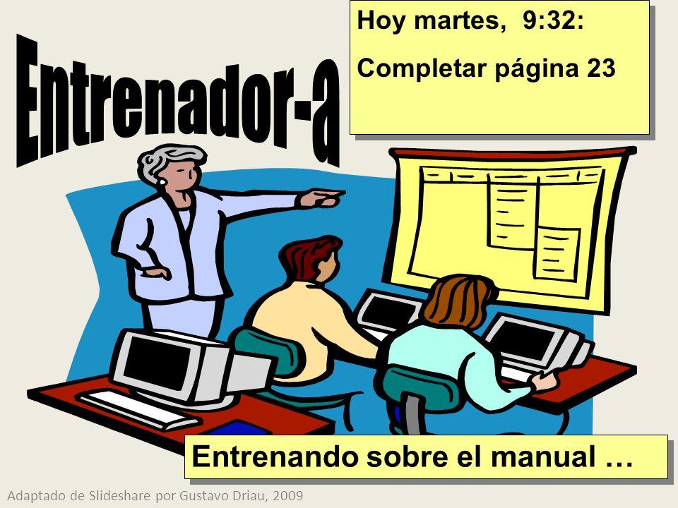 Hoy martes, 9:32: Completar página 23 Hoy martes, 9:32: Completar página 23 Adaptado de Slideshare por Gustavo Driau, 2009 Entrenando sobre el manual