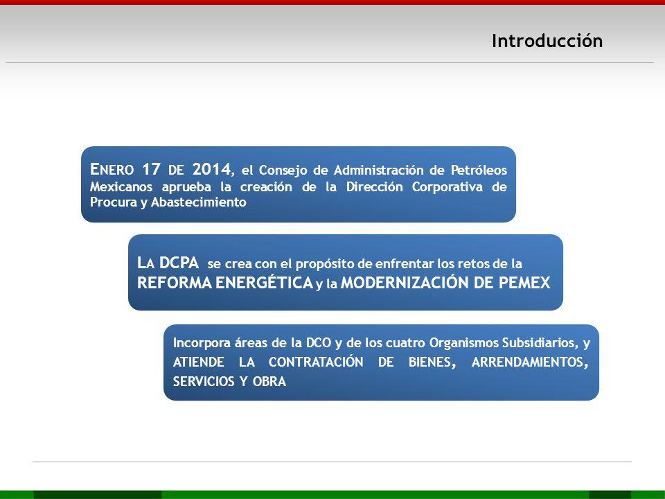 Introducción E NERO 17 DE 2014, el Consejo de Administración de Petróleos Mexicanos aprueba la creación de la Dirección Corporativa de Procura y Abast