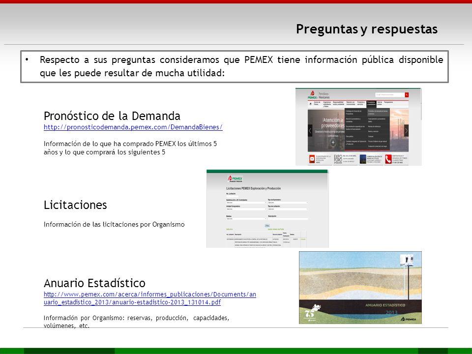Preguntas y respuestas Respecto a sus preguntas consideramos que PEMEX tiene información pública disponible que les puede resultar de mucha utilidad: