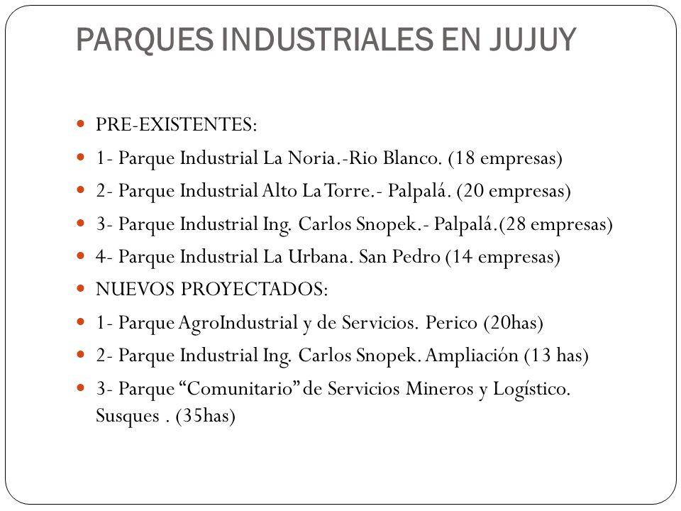 PARQUES INDUSTRIALES EN JUJUY PRE-EXISTENTES: 1- Parque Industrial La Noria.-Rio Blanco. (18 empresas) 2- Parque Industrial Alto La Torre.- Palpalá. (