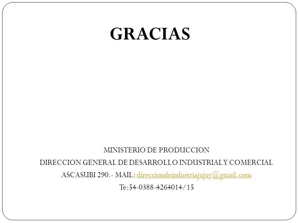 MINISTERIO DE PRODUCCION DIRECCION GENERAL DE DESARROLLO INDUSTRIAL Y COMERCIAL ASCASUBI 290.- MAIL: direcciondeindustriajujuy@gmail.comdirecciondeind