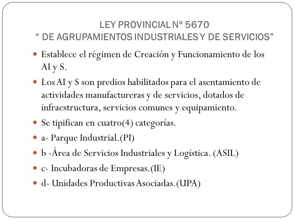 LEY PROVINCIAL Nº 5670 DE AGRUPAMIENTOS INDUSTRIALES Y DE SERVICIOS Establece el régimen de Creación y Funcionamiento de los AI y S. Los AI y S son pr