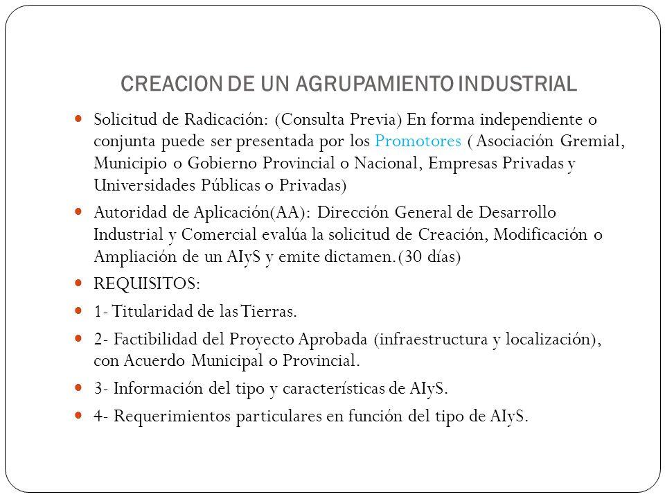 CREACION DE UN AGRUPAMIENTO INDUSTRIAL Solicitud de Radicación: (Consulta Previa) En forma independiente o conjunta puede ser presentada por los Promo