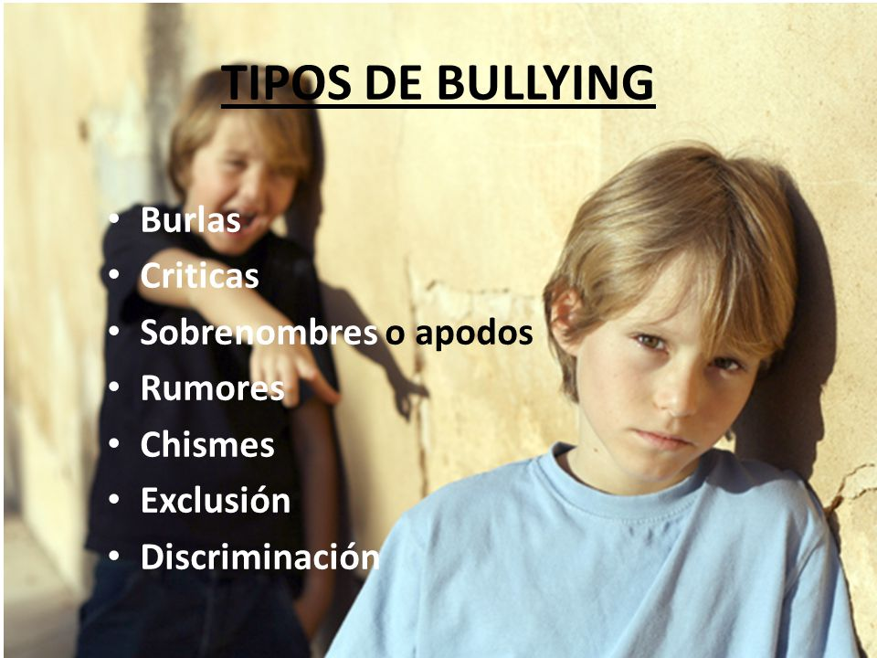TIPOS DE BULLYING Burlas Criticas Sobrenombres o apodos Rumores Chismes Exclusión Discriminación