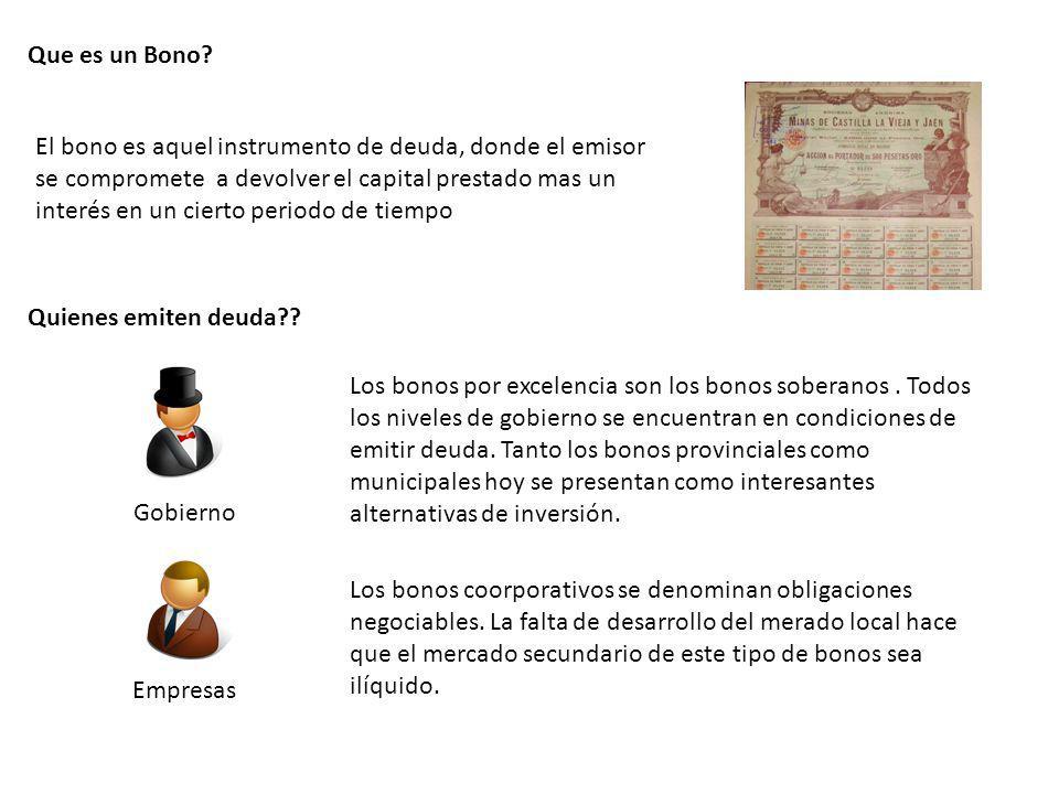 Que es un Bono? El bono es aquel instrumento de deuda, donde el emisor se compromete a devolver el capital prestado mas un interés en un cierto period