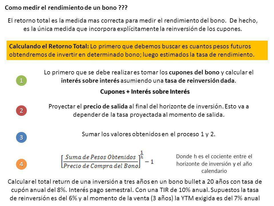Como medir el rendimiento de un bono ??? El retorno total es la medida mas correcta para medir el rendimiento del bono. De hecho, es la única medida q