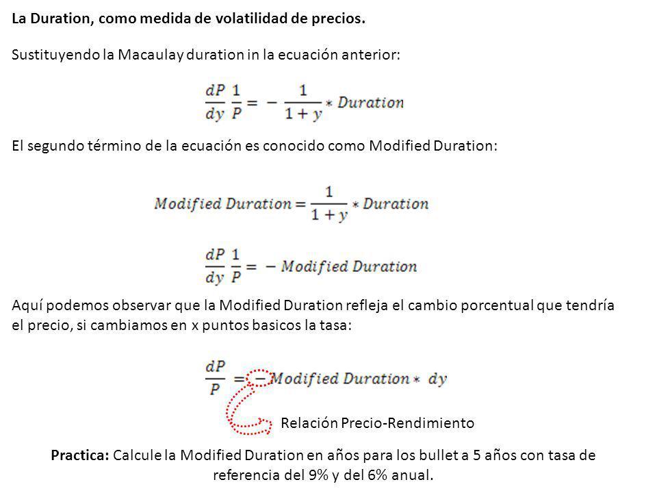 La Duration, como medida de volatilidad de precios. Sustituyendo la Macaulay duration in la ecuación anterior: El segundo término de la ecuación es co