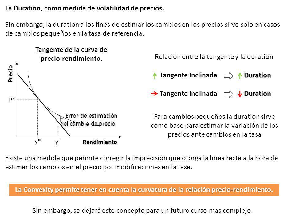 La Duration, como medida de volatilidad de precios. Rendimiento Precio y* P* Sin embargo, la duration a los fines de estimar los cambios en los precio