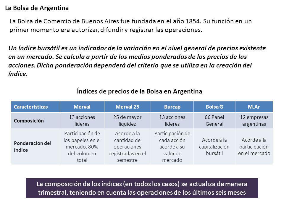 La Bolsa de Argentina La Bolsa de Comercio de Buenos Aires fue fundada en el año 1854. Su función en un primer momento era autorizar, difundir y regis