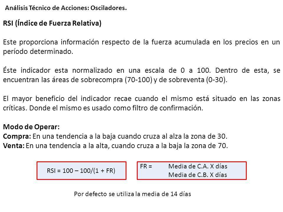 RSI (Índice de Fuerza Relativa) Este proporciona información respecto de la fuerza acumulada en los precios en un período determinado. Éste indicador