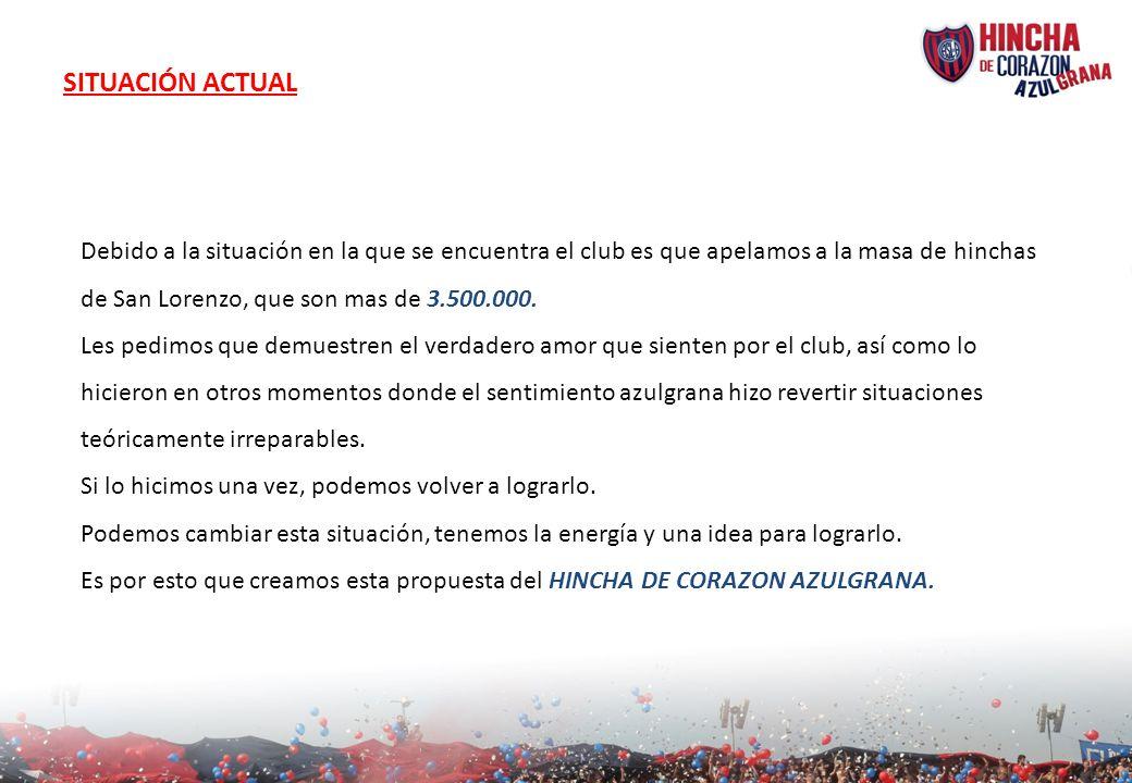 SITUACIÓN ACTUAL Debido a la situación en la que se encuentra el club es que apelamos a la masa de hinchas de San Lorenzo, que son mas de 3.500.000. L