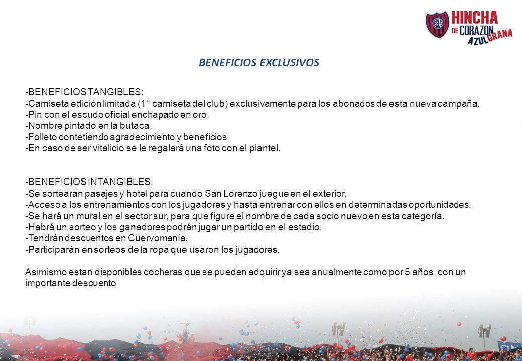 BENEFICIOS EXCLUSIVOS -BENEFICIOS TANGIBLES: -Camiseta edición limitada (1° camiseta del club) exclusivamente para los abonados de esta nueva campaña.