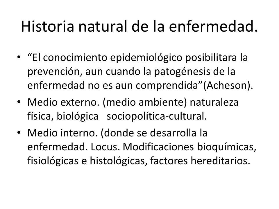 Historia natural de la enfermedad. El conocimiento epidemiológico posibilitara la prevención, aun cuando la patogénesis de la enfermedad no es aun com