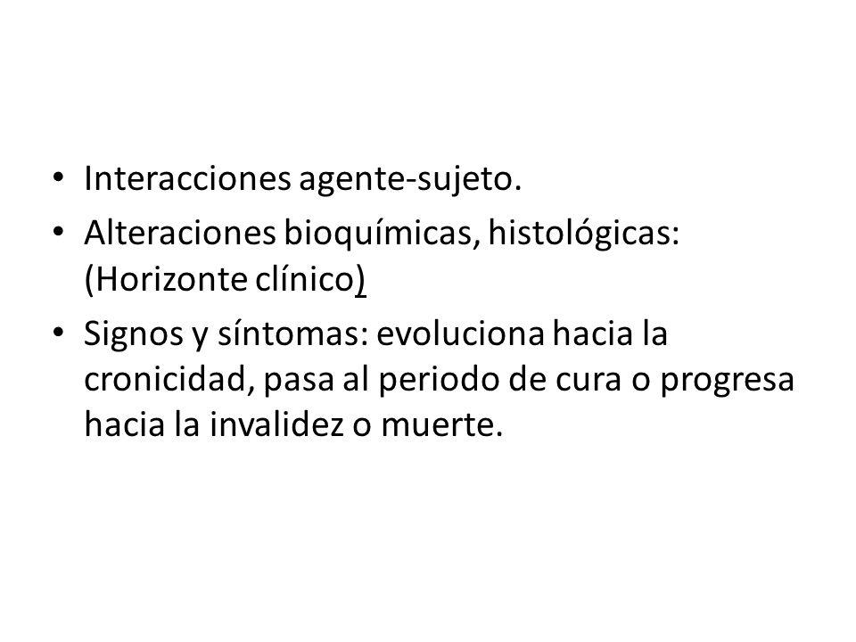 Interacciones agente-sujeto. Alteraciones bioquímicas, histológicas: (Horizonte clínico) Signos y síntomas: evoluciona hacia la cronicidad, pasa al pe