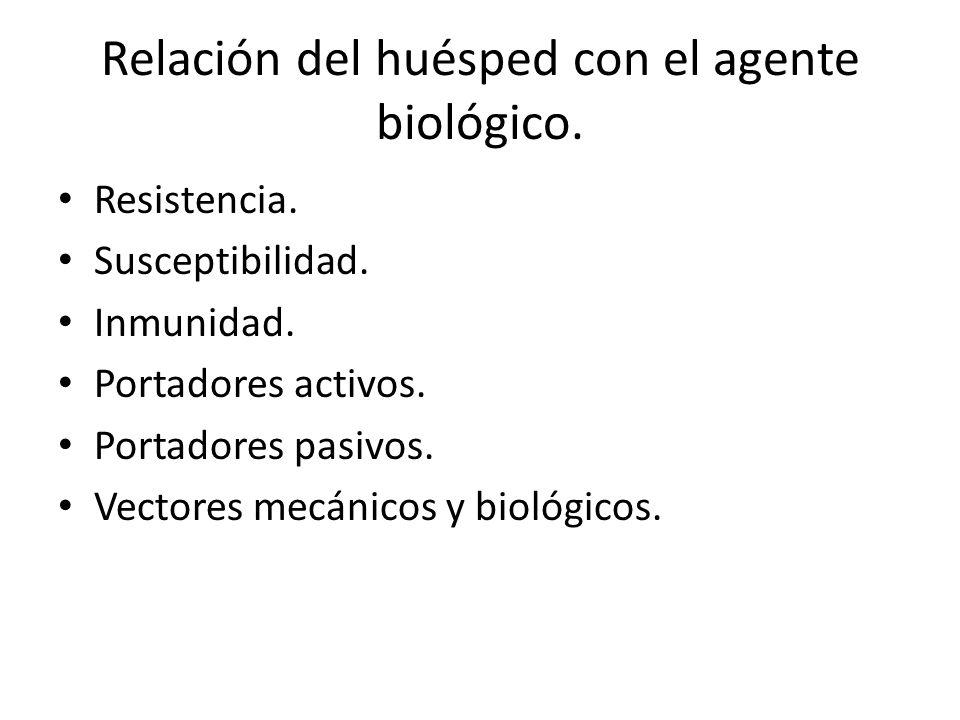 Relación del huésped con el agente biológico. Resistencia. Susceptibilidad. Inmunidad. Portadores activos. Portadores pasivos. Vectores mecánicos y bi
