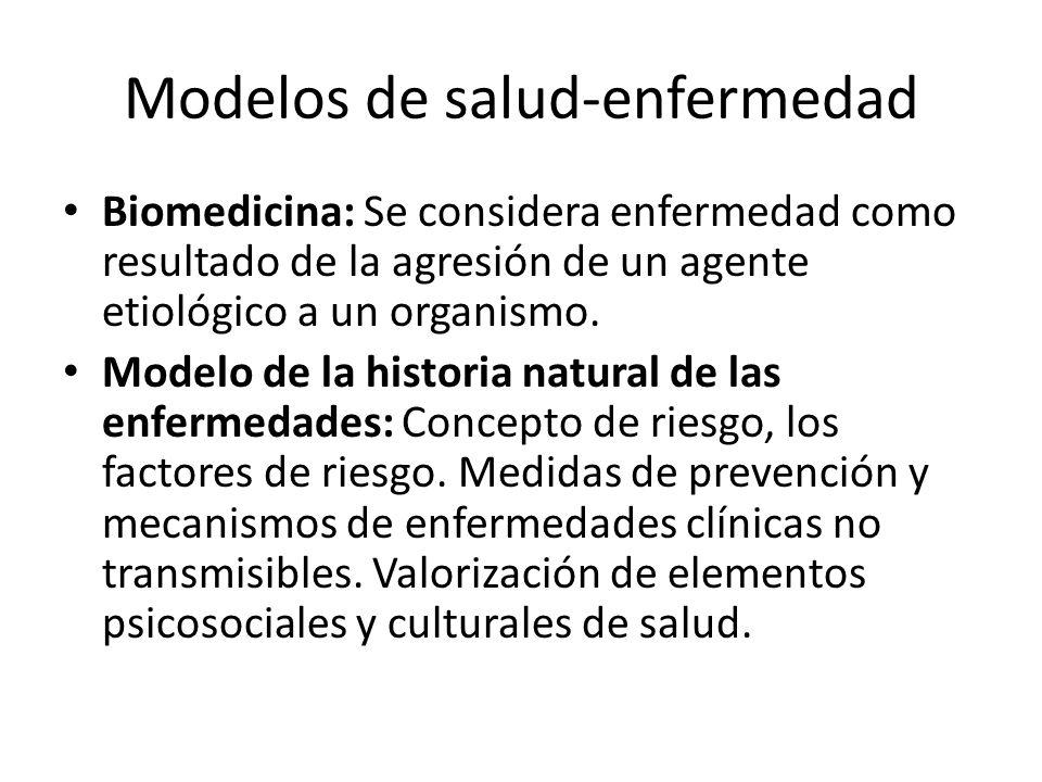 Modelos de salud-enfermedad Biomedicina: Se considera enfermedad como resultado de la agresión de un agente etiológico a un organismo. Modelo de la hi