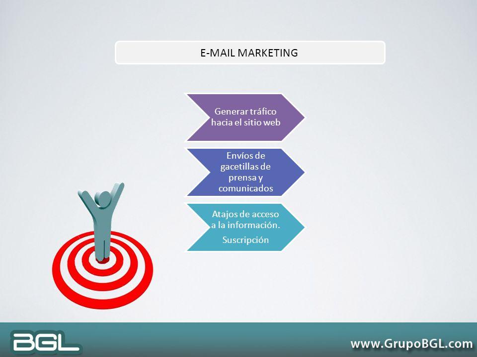 E-MAIL MARKETING Generar tráfico hacia el sitio web Envíos de gacetillas de prensa y comunicados Atajos de acceso a la información. Suscripción