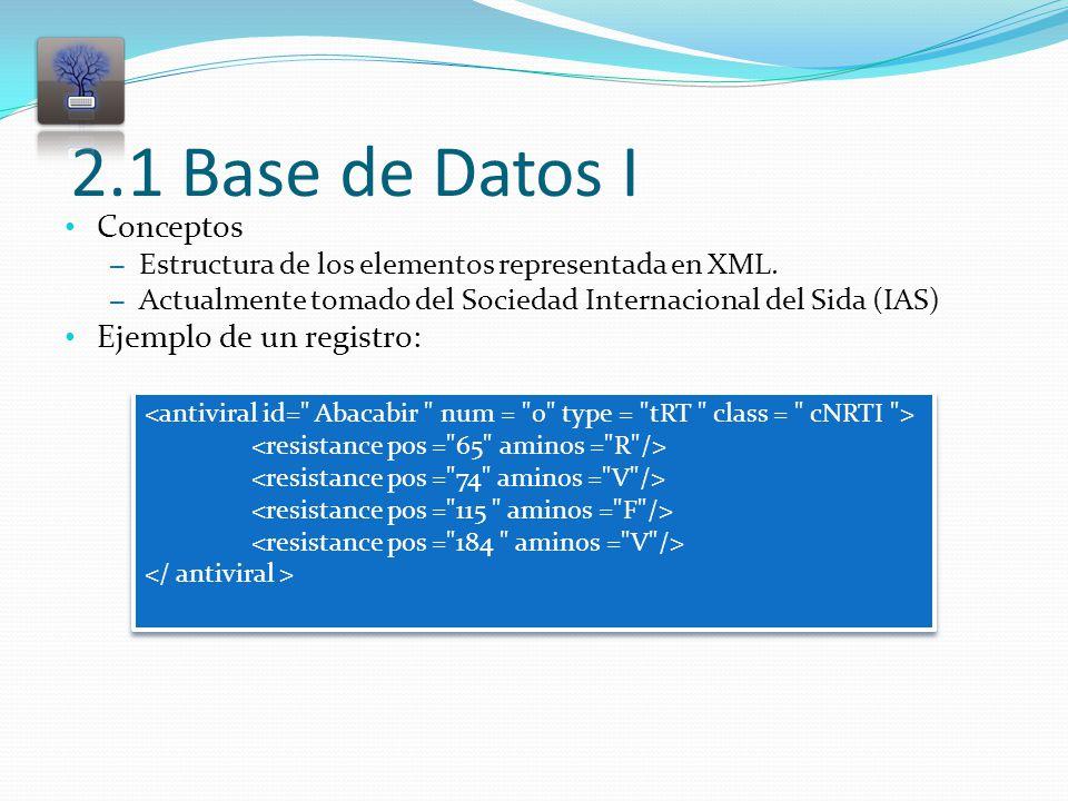 2.1 Base de Datos I Conceptos – Estructura de los elementos representada en XML.