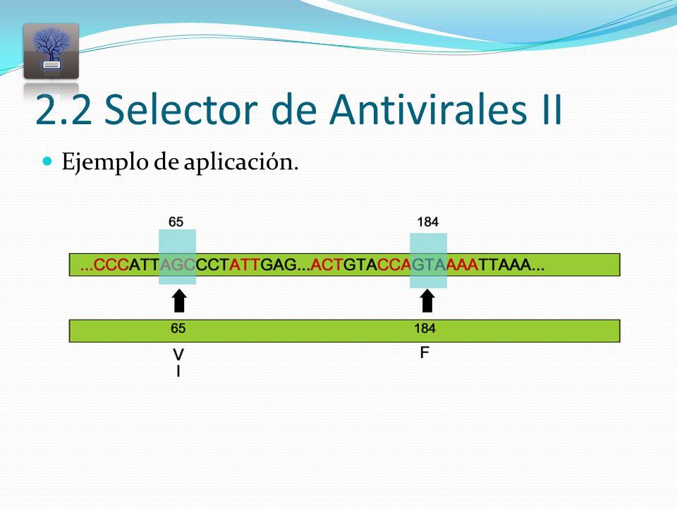 2.2 Selector de Antivirales II Ejemplo de aplicación.