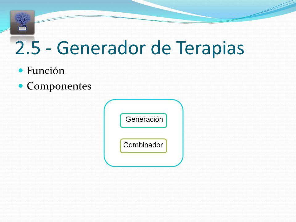 2.5 - Generador de Terapias Función Componentes Combinador Generación