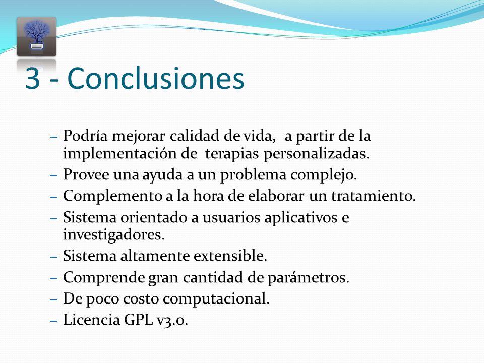 3 - Conclusiones – Podría mejorar calidad de vida, a partir de la implementación de terapias personalizadas.