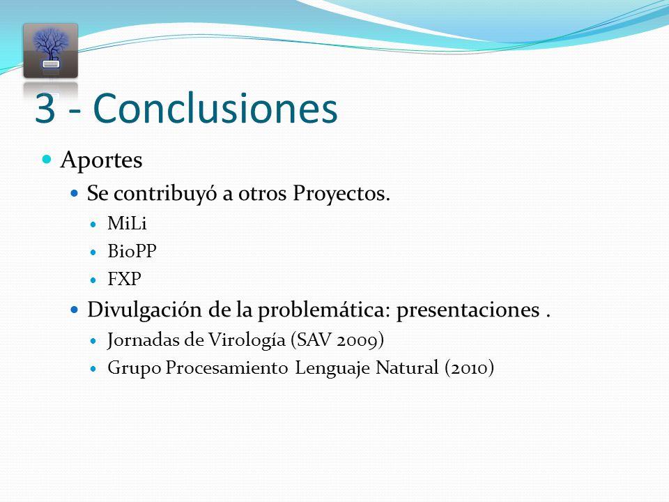 3 - Conclusiones Aportes Se contribuyó a otros Proyectos.